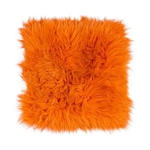 Oranžový kožušinový podsedák s dlhým vlasom Orange, 37 x 37 cm