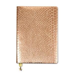 Zápisník A5 v bronzovej farbe GO Stationery All That Glitters Croc