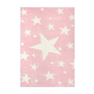 Ružový detský koberec Happy Rugs Star Constellation, 80x150cm