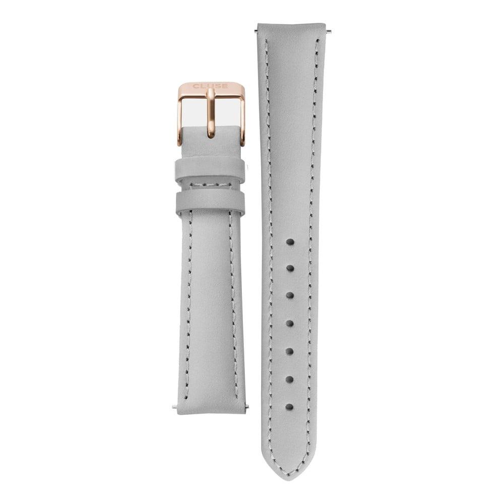Sivý kožený remienok s detailmi vo farbe ružového zlata k hodinkám Cluse Minuit