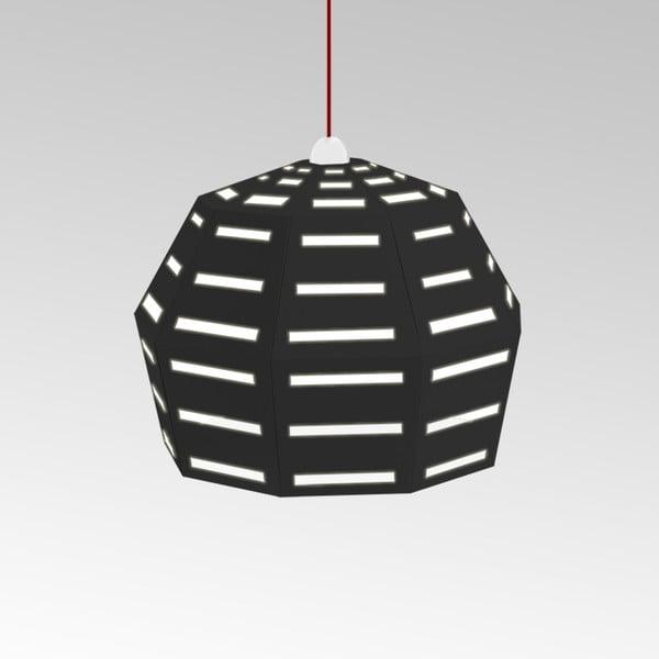 Kartónové svietidlo Uno Fantasia D Black, s červeným káblom