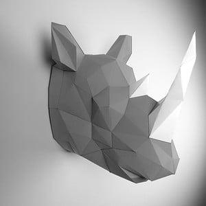 Papierová trofej Nosorožec, sivo-biely