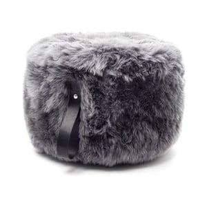Sivo-čierny okrúhly puf z ovčej vlny Royal Dream