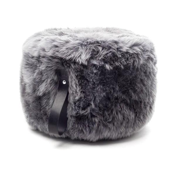 Sivý puf z ovčej kožušiny s čiernym detailom Royal Dream, Ø60 cm