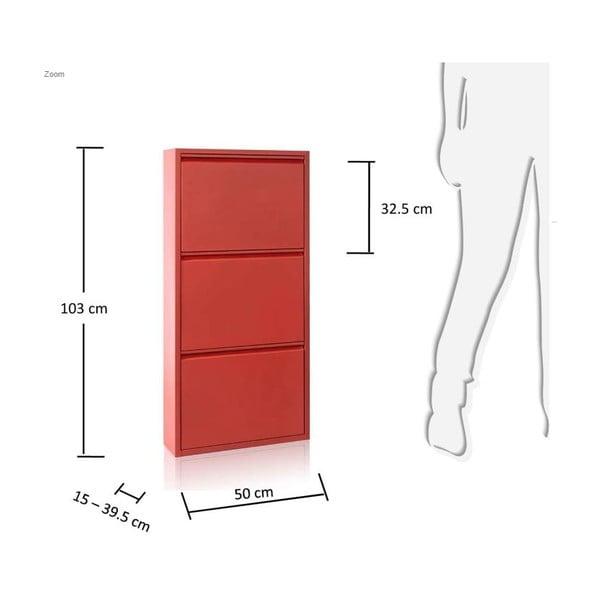 3-dielna skrinka na topánky Zapatero, červený