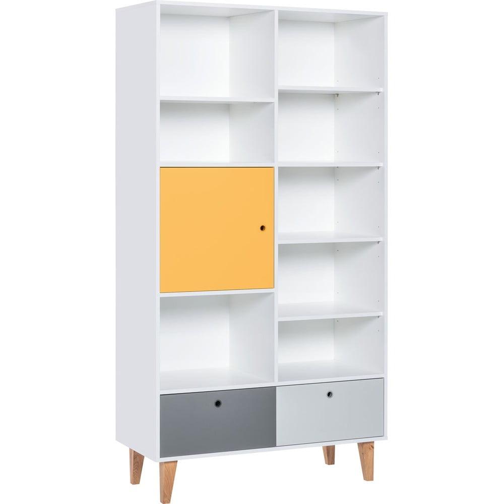 Knižnica so žltými dvierkami z dubového dreva Vox Concept, 105 x 201,5 cm