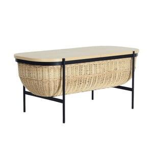 Prútená lavica s čiernou konštrukciou a úložným priestorom OK Design Willow
