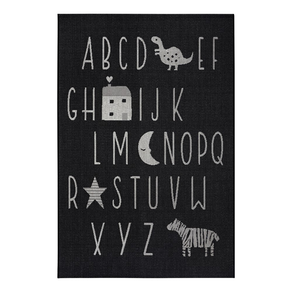 Čierny detský koberec Ragami Letters, 160 x 230 cm