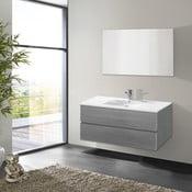 Kúpeľňová skrinka s umývadlom a zrkadlom Flopy, odtieň sivej, 100 cm