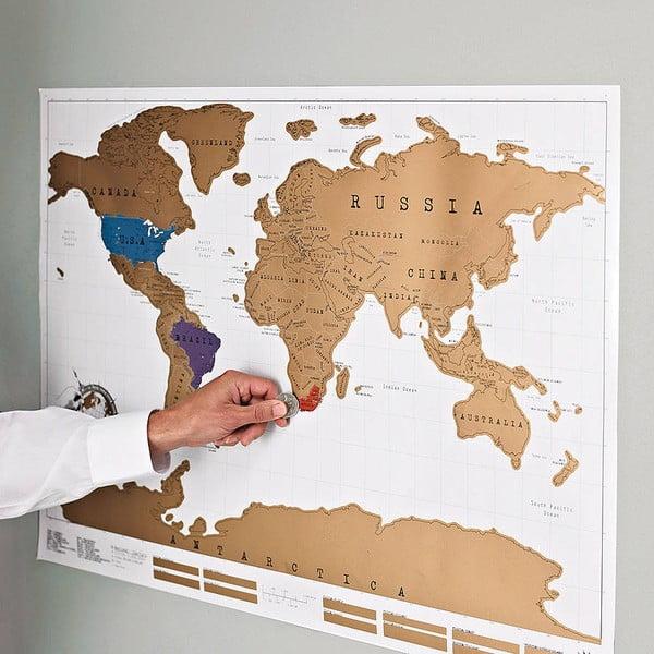 Stieracia samolepiaca nástenná mapa sveta Ambiance Scratch Map