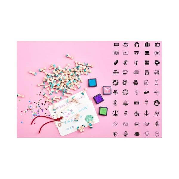 Mini pečiatky Lucky Little Moose Skvelá kolekcia, 50 ks + 4 farby