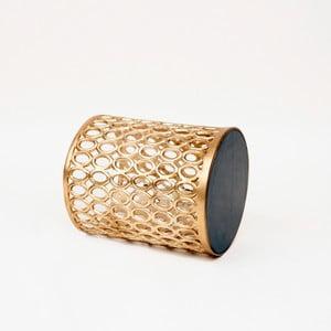Odkladací stolík v zlatej farbe s doskou z mangového dreva Miloo Home Coco, ⌀ 34 cm