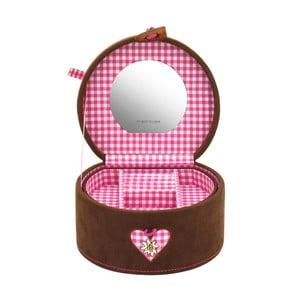 Šperkovnica Bagvaria Brown/Pink, 15,5x14x10 cm