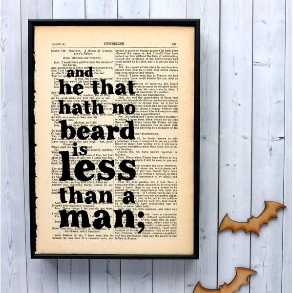 Plagát v drevenom ráme Shakespeare Beard