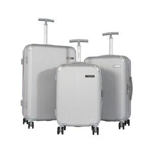 Sada 3 sivých cestovných kufrov na kolieskach Travel World