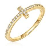 Dámsky prsteň zlatej farby Runaway Cross, 58