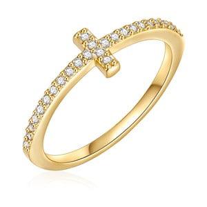 Dámsky prsteň zlatej farby Runaway Cross, 54
