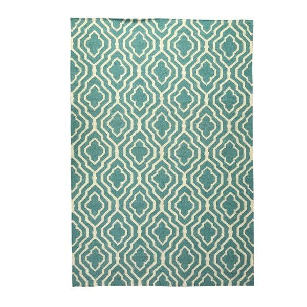 Vlnený koberec Geometry House Green & White, 160x230 cm