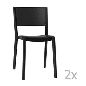 Sada 2 čiernych záhradných stoličiek Resol Spot