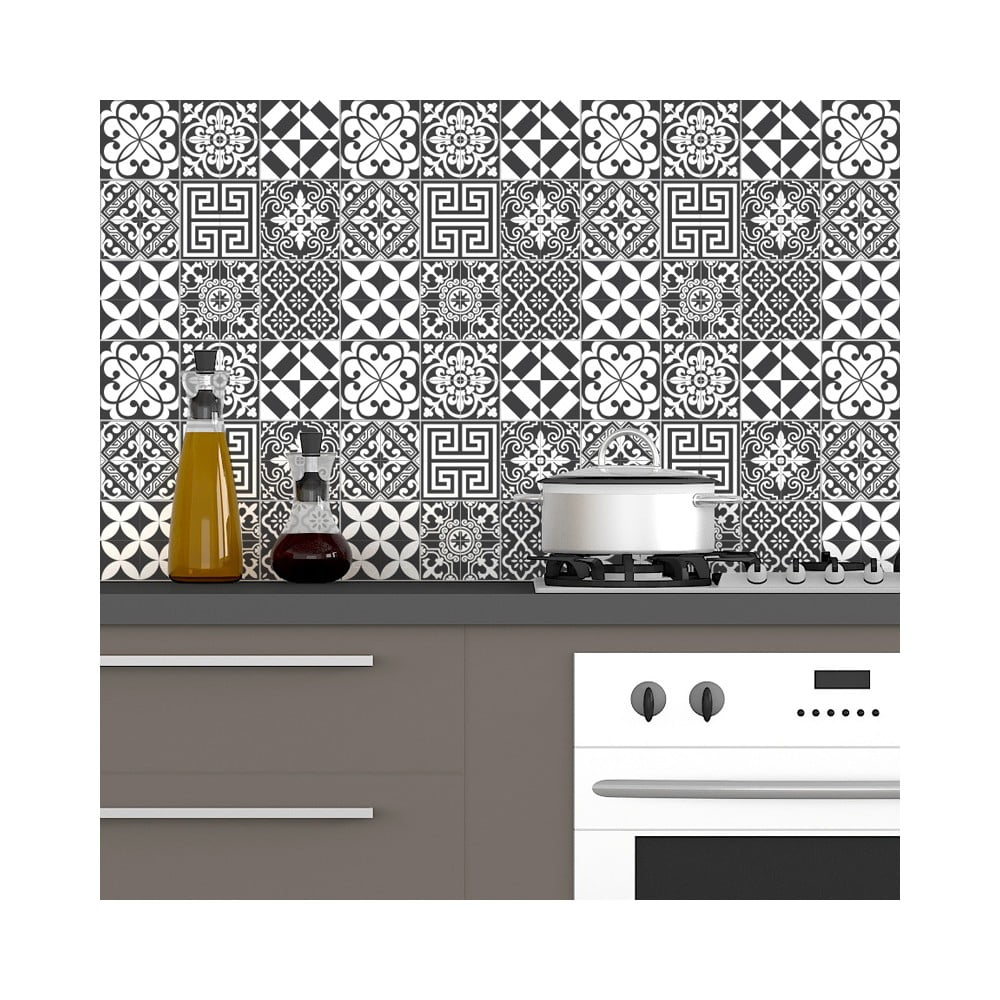 Sada 60 nástenných samolepiek Ambiance Wall Decal Tiles Traditional Shade of Gray, 15 × 15 cm