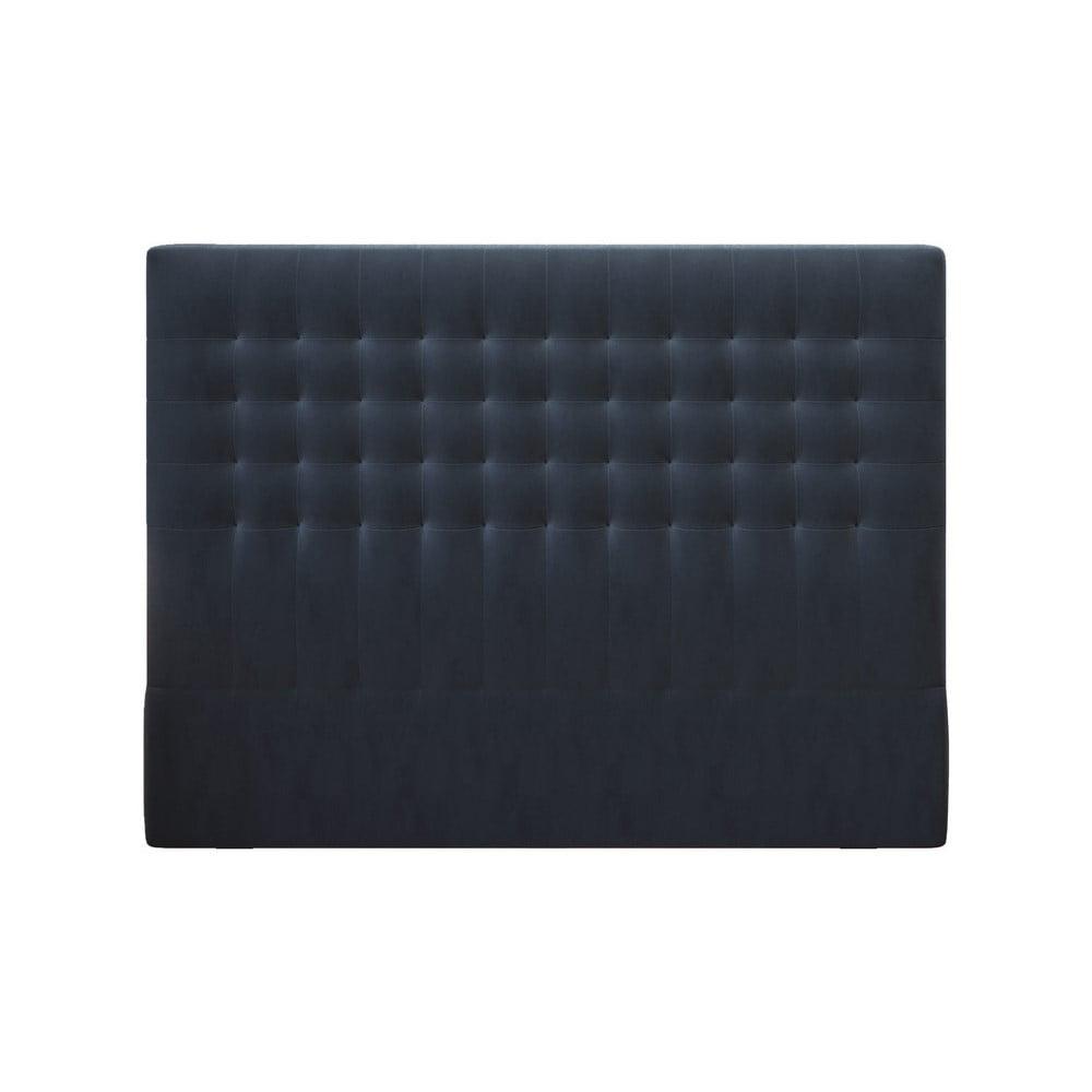 Tmavomodré čelo postele so zamatovým poťahom Windsor & Co Sofas Apollo, 140 × 120 cm