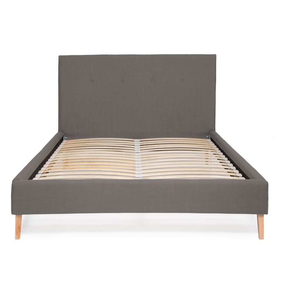 Sivá posteľ Vivonita Kent Linen, 200 × 160 cm