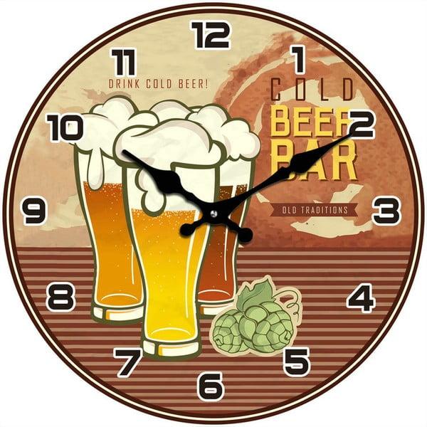 Sklenené hodiny Cold Beer Bar, 34 cm