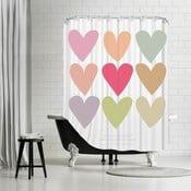 Kúpeľňový záves Love Thee Hearts White, 180x180 cm