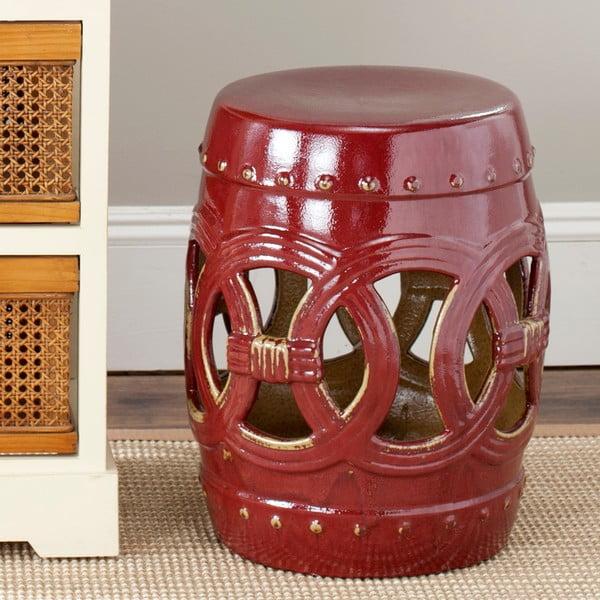 Tmavočervený keramický stolík vhodný do exteriéru Safavieh Deep, ø33cm