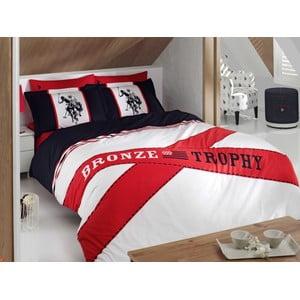 Sada obliečok a prestieradla US Polo Percale 200x220 cm, Dark Blue and Red