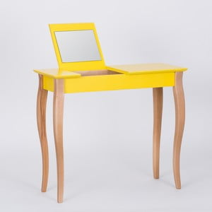Žltý toaletný stolík sozrkadlom Ragaba Dressing Table,dĺžka85cm