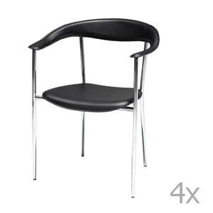 Sada 4 čiernych jedálnych stoličiek Knuds Katja