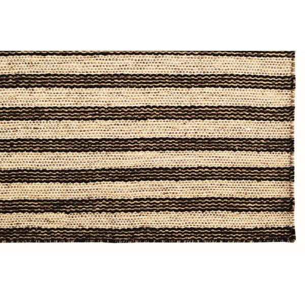 Ručne tkaný koberec Dark Brown Lines Kilim, 110x155 cm