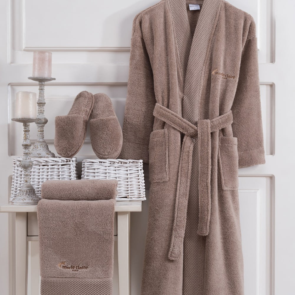 Set hnedého dámského župana veľkosti XL, uteráka a papúč Bathrobe Set Lady