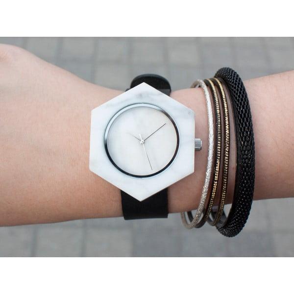 Biele hranaté mramorové hodinky s čiernym remienkom Analog Watch Co.