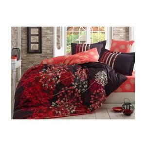Červené obliečky s plachtou na dvojlôžko z bavlneného saténu Fiorella, 200 x 220 cm