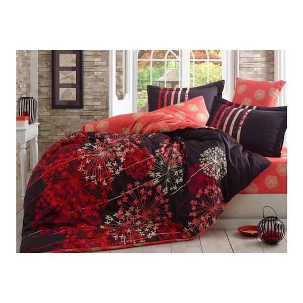 Červené obliečky z bavlneného saténu s plachtou na dvojlôžko Fiorella, 200×220 cm