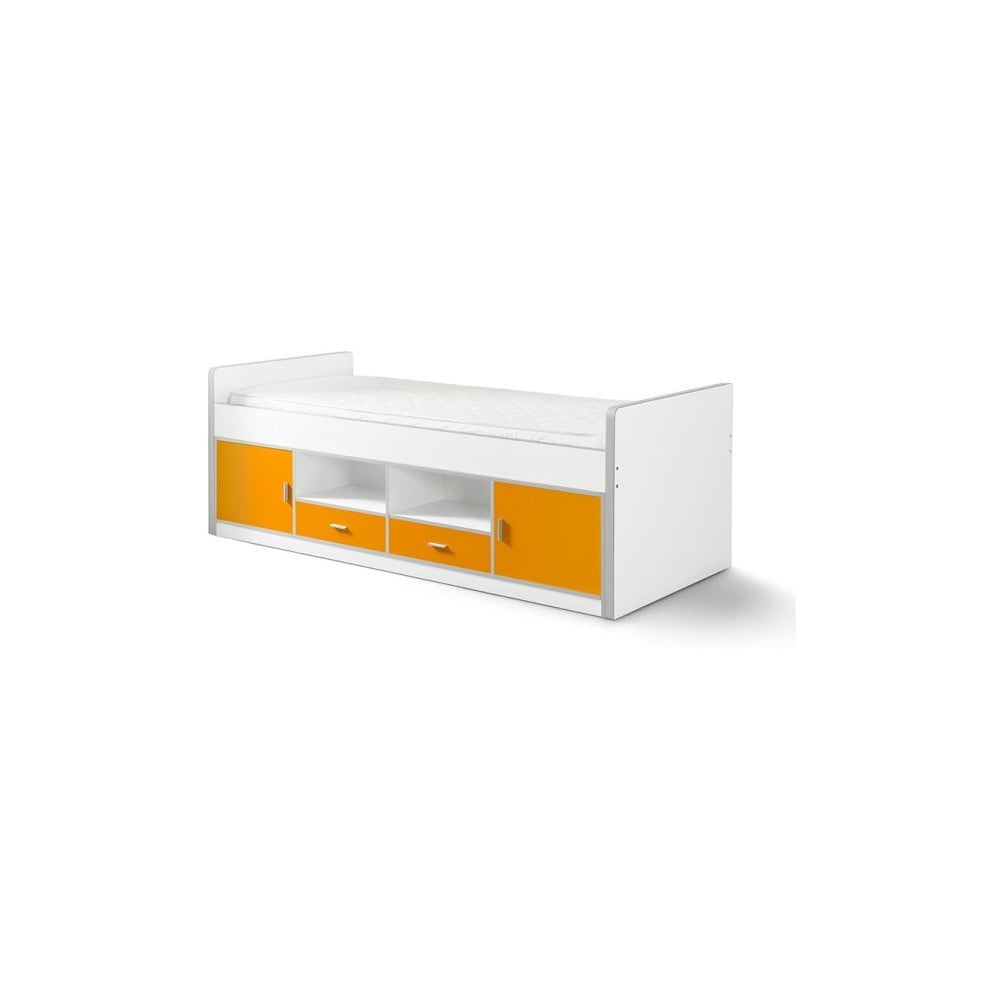 Oranžová detská posteľ s úložným priestorom Vipack Bonny, 200 × 90 cm