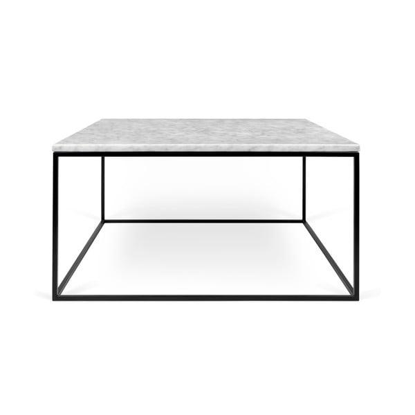 Biely mramorový konferenčný stolík s čiernymi nohami TemaHome Gleam, 75cm