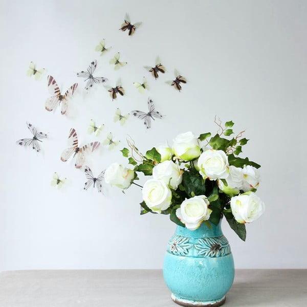 Sada 18 bielych adhezívnych 3D samolepiek Ambiance Butterflies Chic