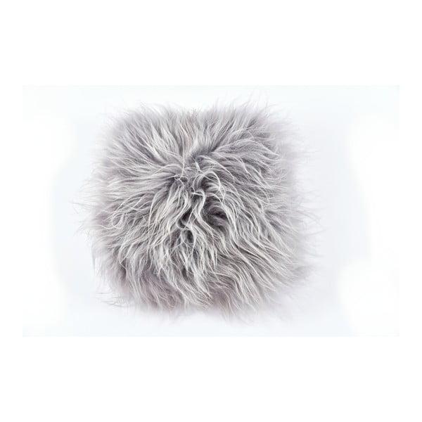 Sivý kožušinový vankúš s dlhým vlasom, 35x35cm