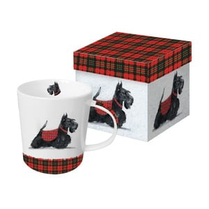 Porcelánový hrnček s vianočným motívom v darčekovom balení PPD Scottie, 350 ml