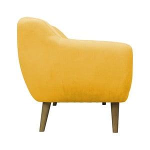 Žlté kreslo Mazzini Sofas Sardaigne, svetlé nohy