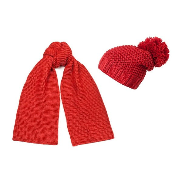 Červená čiapka a šál Lavaii Elegant