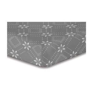 Sivá elastická plachta so vzorom DecoKing Hypnosis Snowynight, 200×220 cm