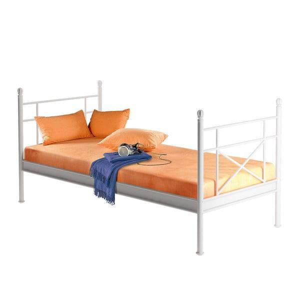 Biela kovová jednolôžková posteľ Støraa Tanja, 90×200cm