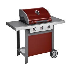 Červený plynový gril s 3 samostatne ovládateľnými horákmi, teplomerom a bočným ohrievačom Jamie Oliver BBQ