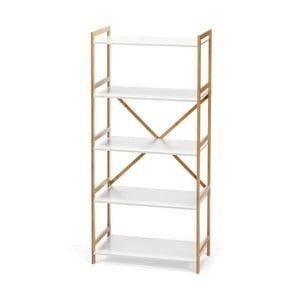Biely päťposchodový regál s bambusovou konštrukciou loomi.design Lora