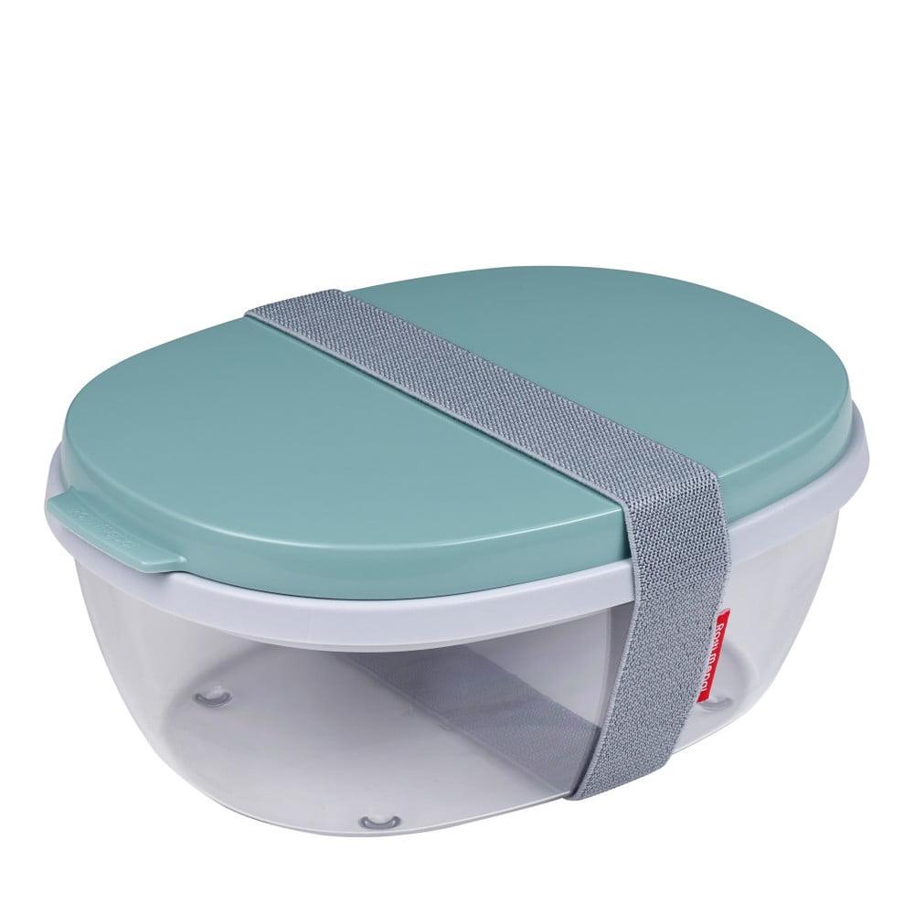 Šalátový box s tyrkysovým vrchnákom Rosti Mepal Ellipse