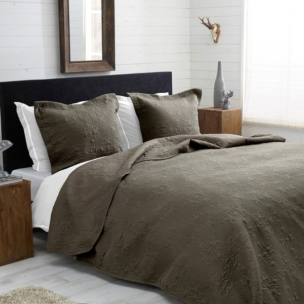 Prikrývka na posteľ Clara, 260x250 cm, béžovosivá